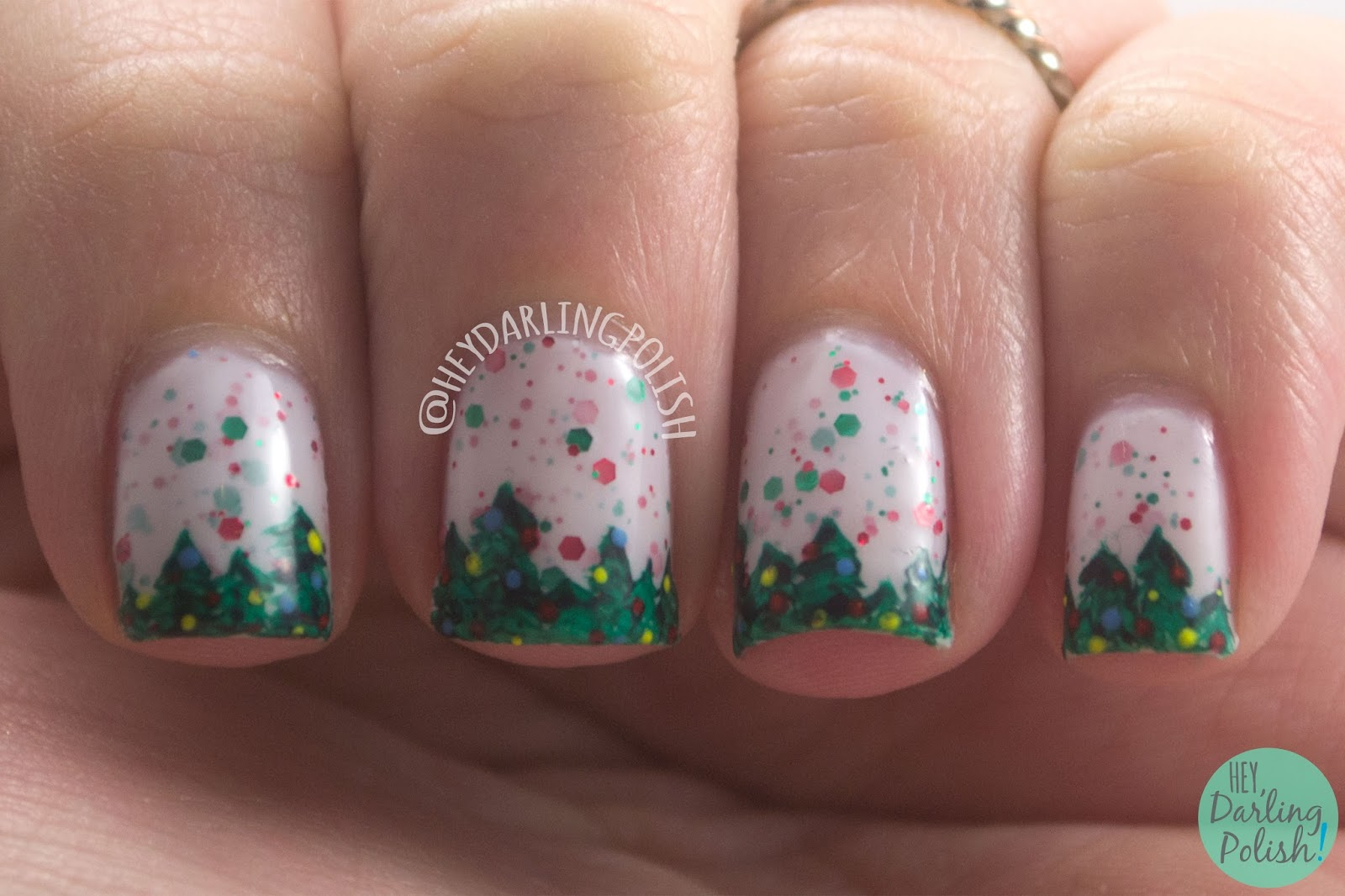 nail art, holly back girl, christmas, christmas trees, freehand, nails, nail polish, indie, indie polish, indie nail polish, kbshimmer, hey darling polish, glitter