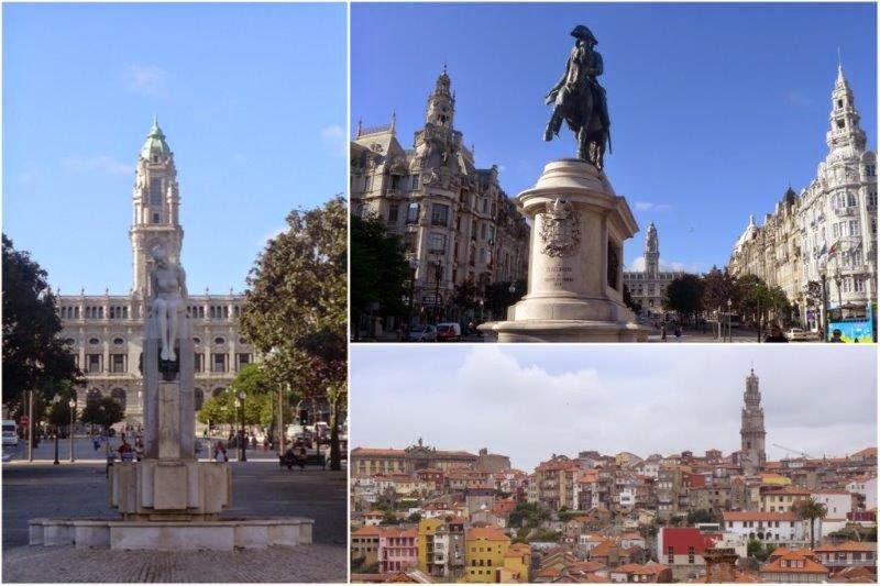 Plaza de la Libertad y vistas del casco histórico de la ciudad en Oporto, Portugal