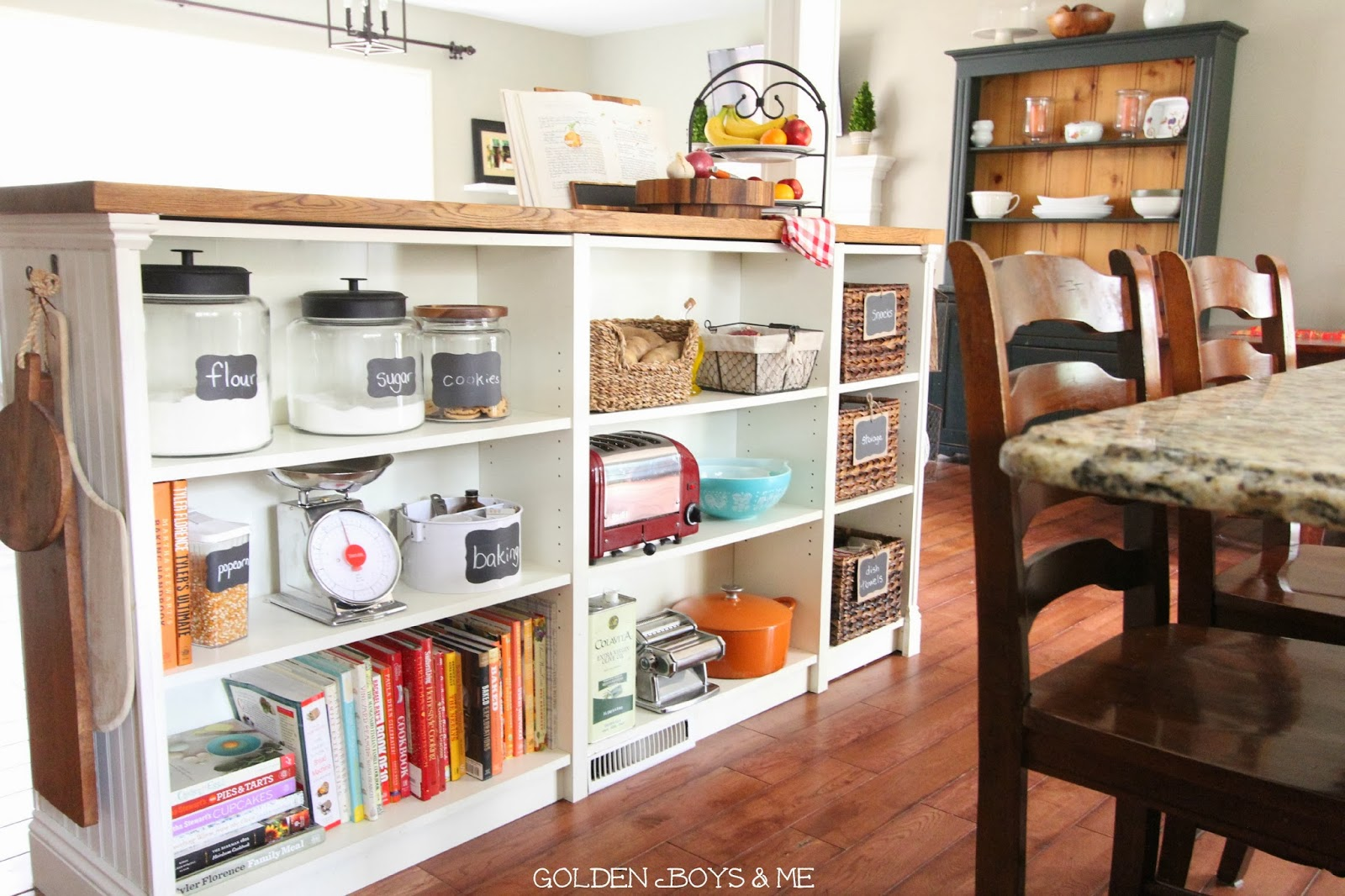 golden boys and me: bookshelves turned kitchen island ikea hack
