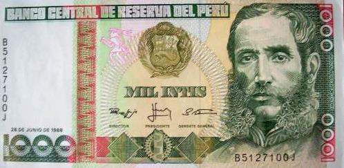 Andrés Avelino Cáceres en billete de mil intis