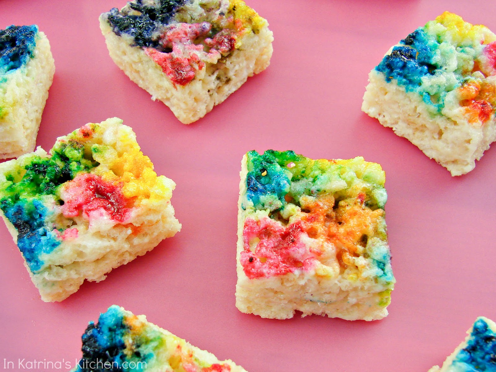 Tie Dyed Rice Krispie Treats -