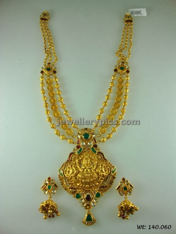 gold traditional long chain with coins and beads