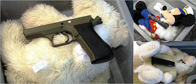 Officers (LEOs) were called to the checkpoint and after searching the bag, they discovered a disassembled weapon hidden in three of the child's stuffed animals. The main frame of a .40 caliber firearm was in one animal. A magazine loaded with two .40 caliber rounds and firing pin was inside another. The slide was inside third stuffed animal. All of the necessary components to assemble a fully functional loaded firearm were artfully concealed in the three stuffed animals.