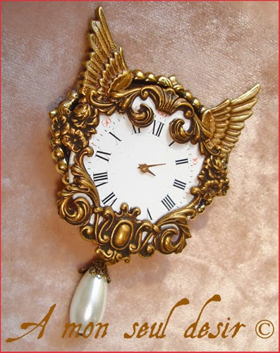 Broche Steampunk Cadran de Montre Brooch Watch Dial Watchface Beat the Clock