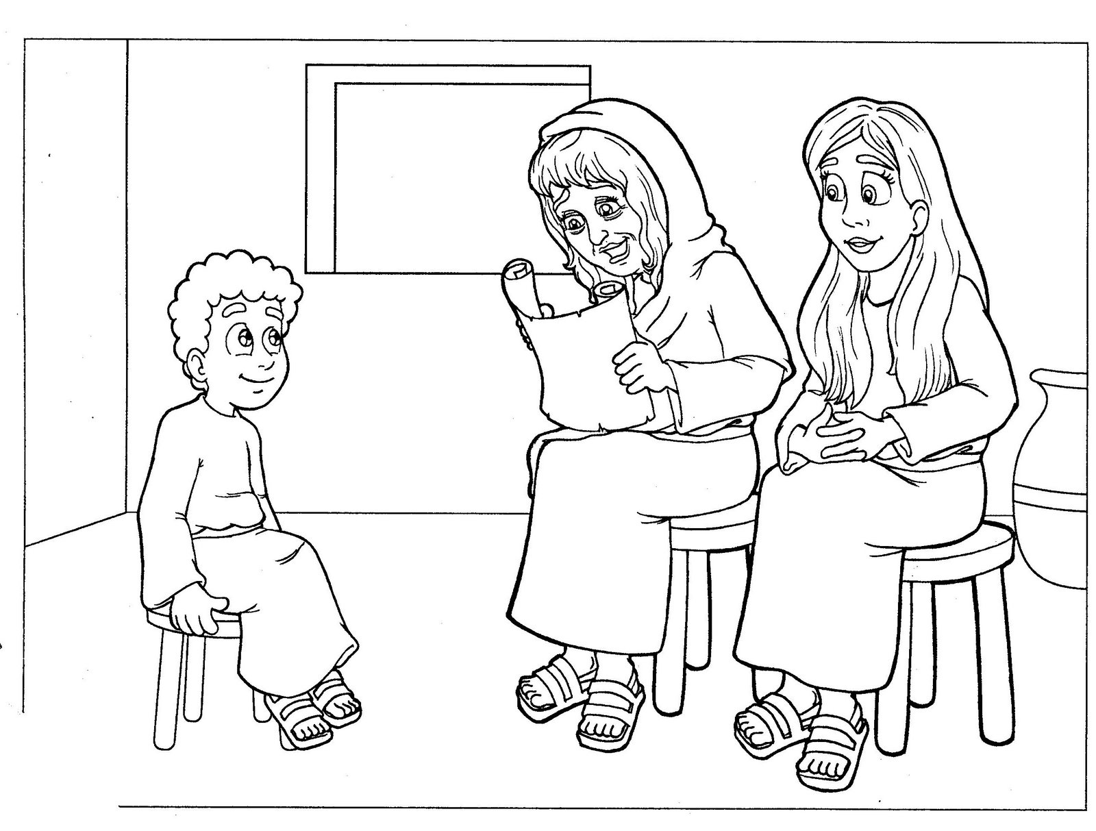 Young Timothy With Mother Coloring Page
