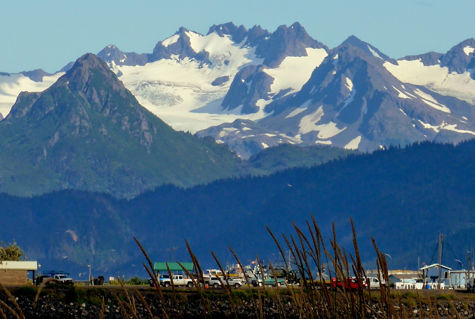 Homer Spit, views to Kenai Mountains