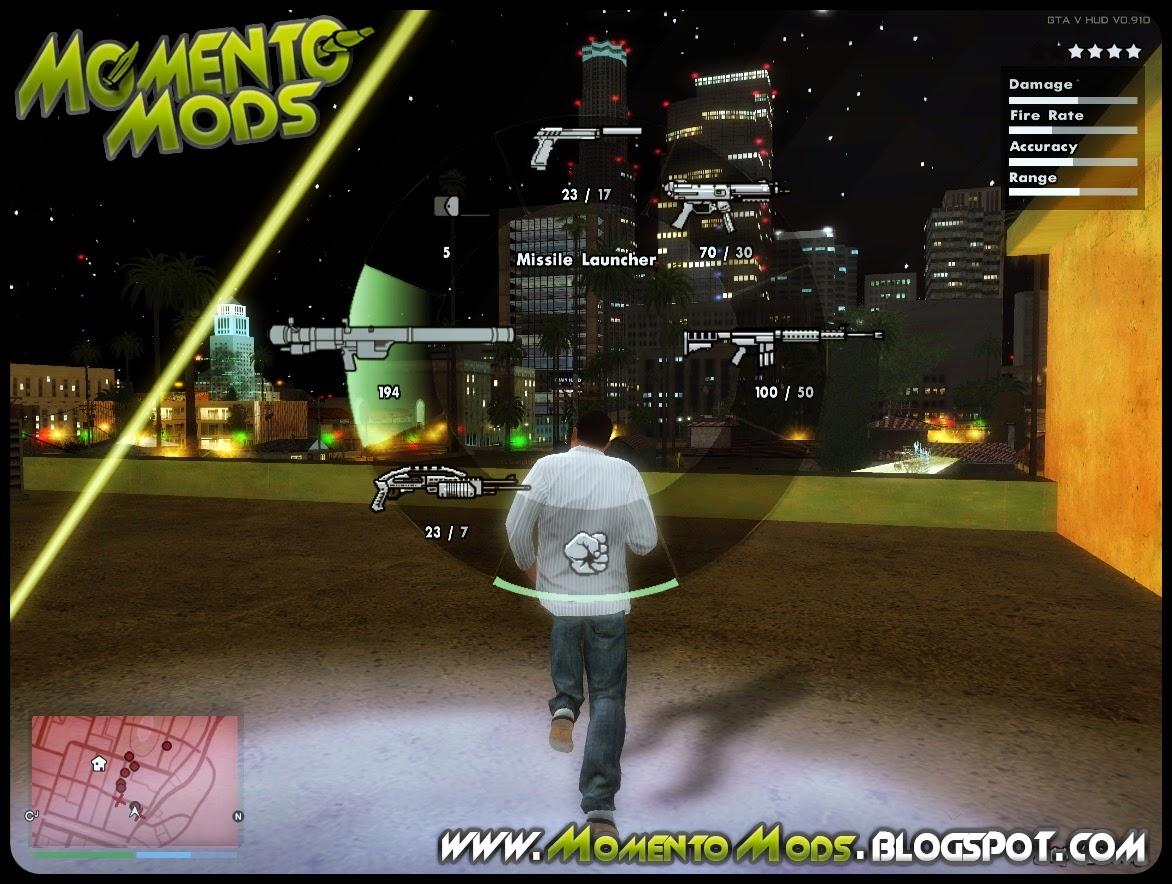 GTA SA  - Hud Do GTA V (Versão PS4 Edition)