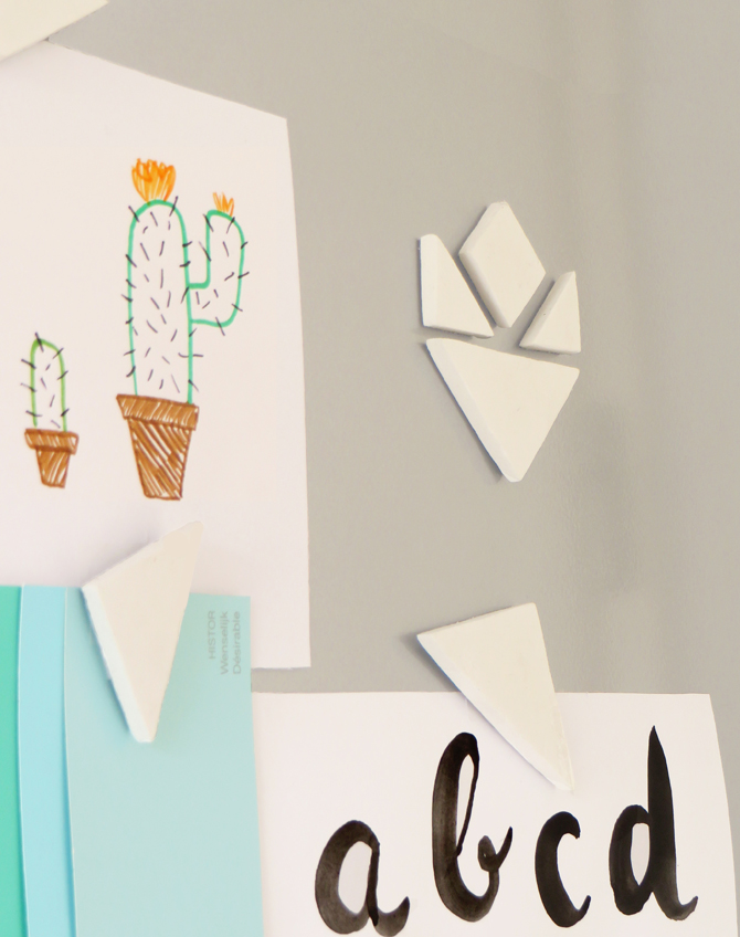 DIY clay tangram magnets