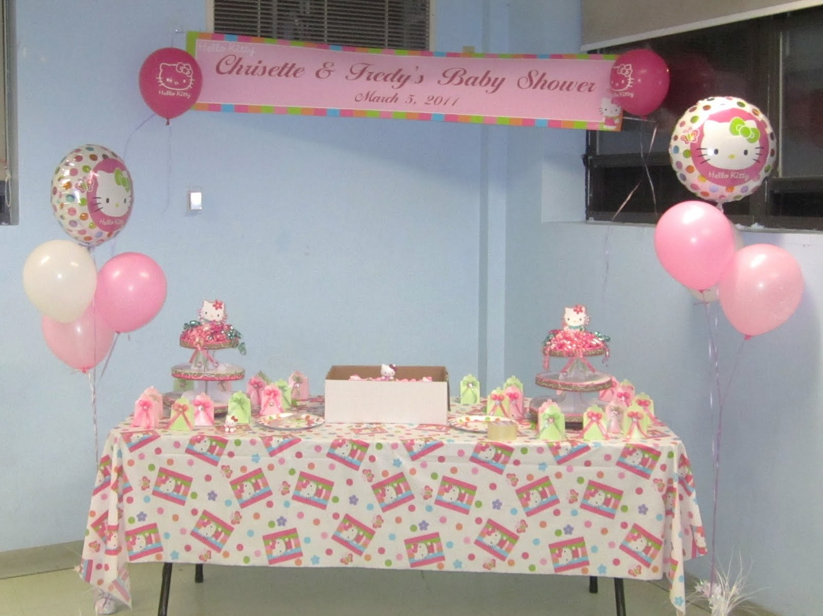 hello kitty baby shower decoration ideas table center piece cake ideas
