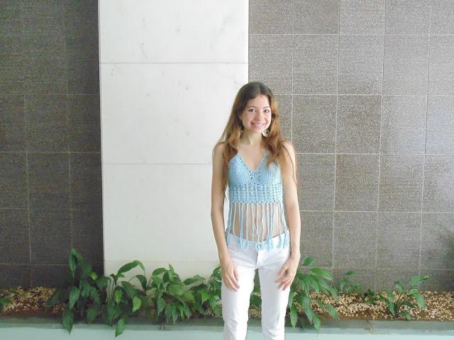 Cropped azul com franjas, Cropped, look, look do dia, Look Ano Novo, Linha Camila Fashion, Bazar Horizonte, Círculo, blog, modelo, Aprendendo com mamãe