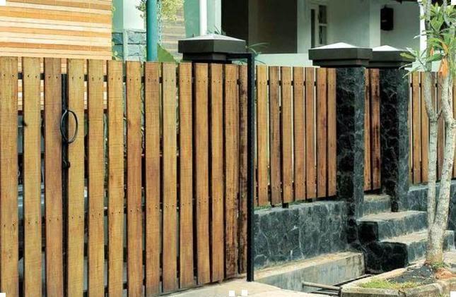 contoh pagar kayu minimalis, model pagar kayu minimalis,contoh pagar kayu