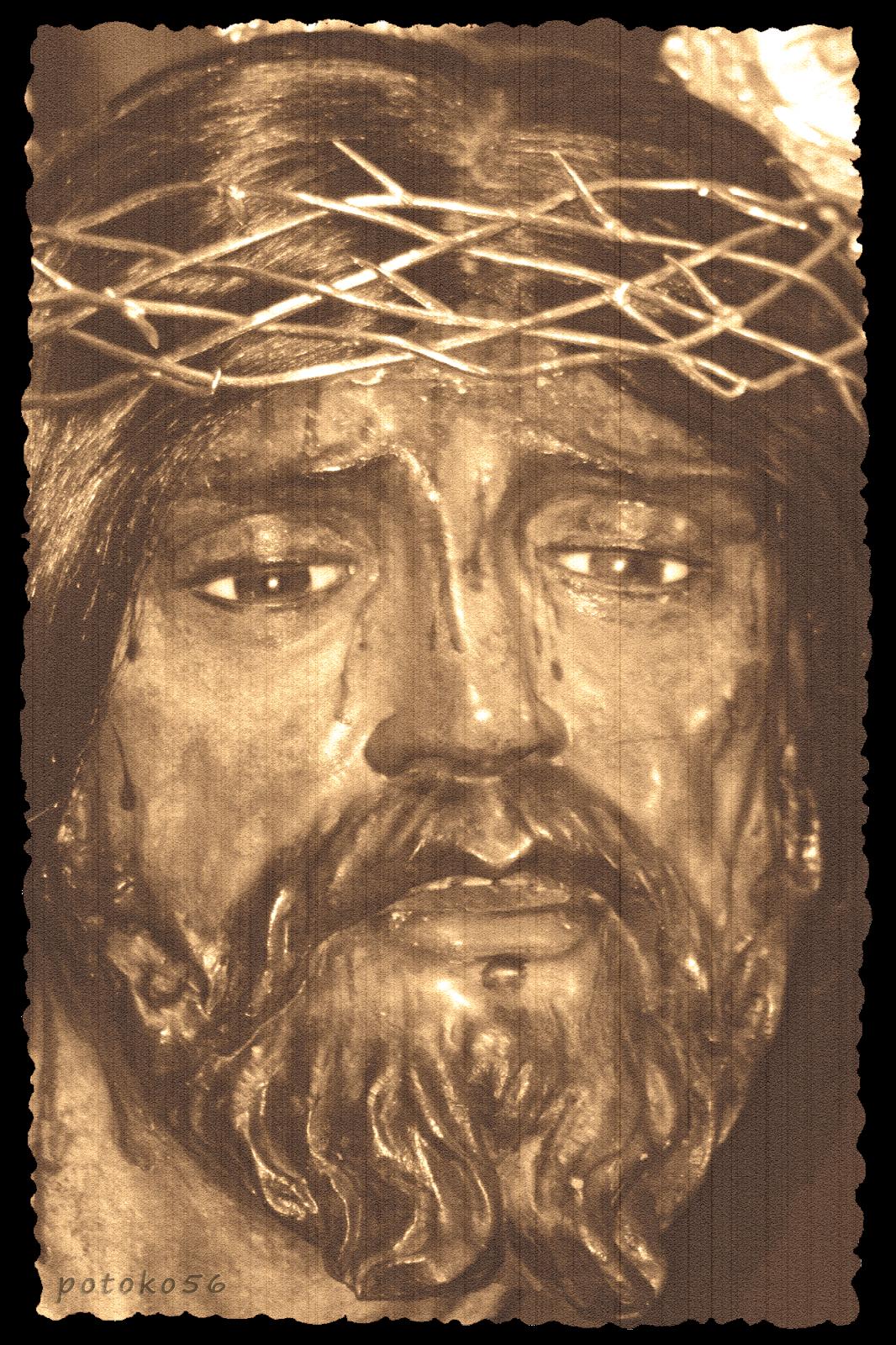 Fotografía del Nazareno de Rota en sepia