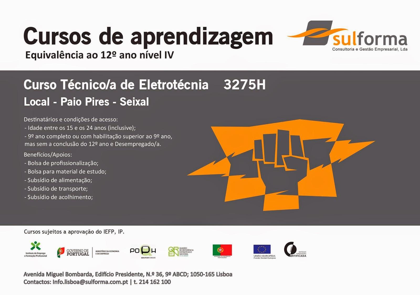 Curso de aprendizagem de Técnico de Eletrotécnia em Paio Pires – Seixal (equivalência ao 12º ano)