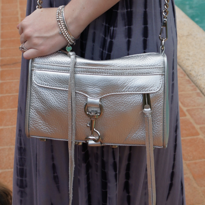 Rebecca Minkoff metallic silver mini MAC worn