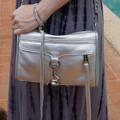 Rebecca Minkoff metallic silver mini MAC worn