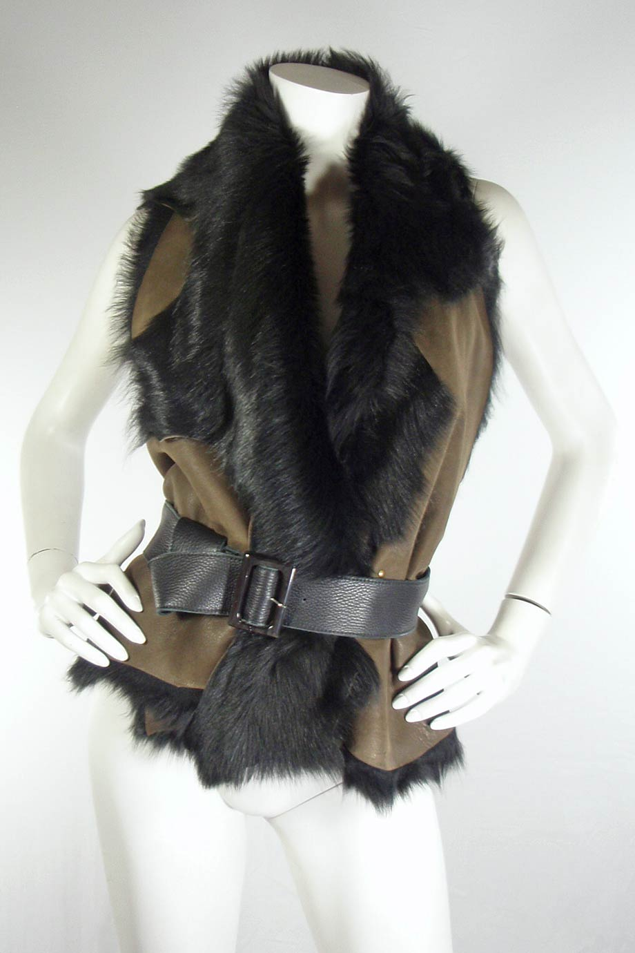 Karl Donoghue leather and shearling vest