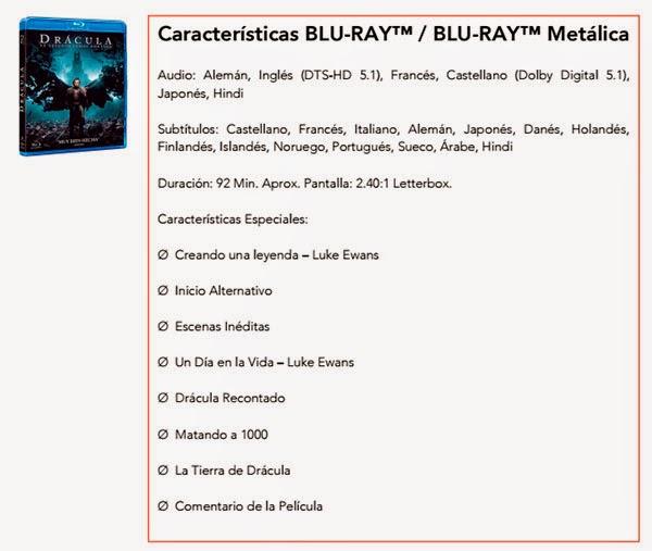 Drácula: La Leyenda Jamás contada Blu-ray