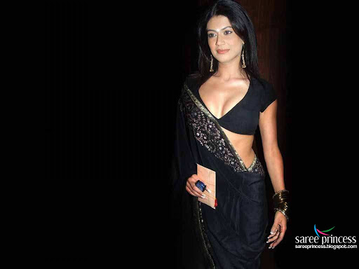 Bollywood actress Payal Rohatgi in black hot saree