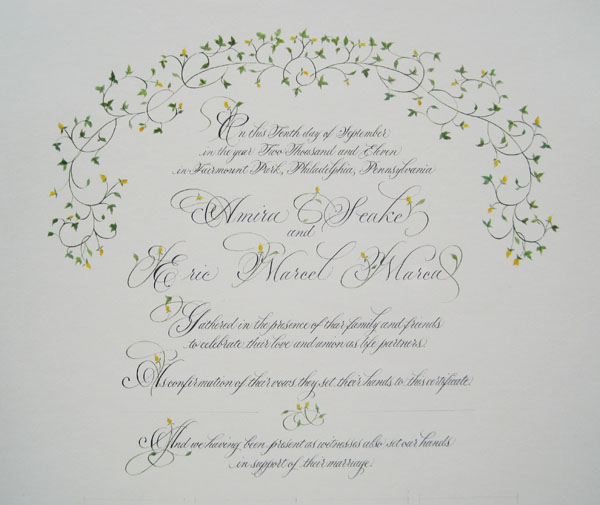 Sally sanders calligraphy design wedding certificate