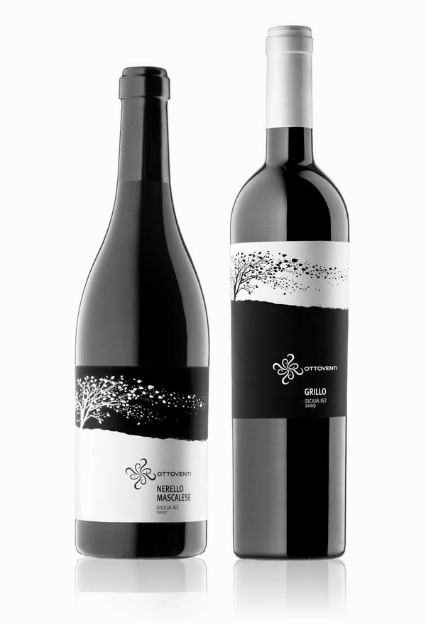 vino rosso vino bianco bottiglie etichette packagingdesign grafica bianco e nero vento