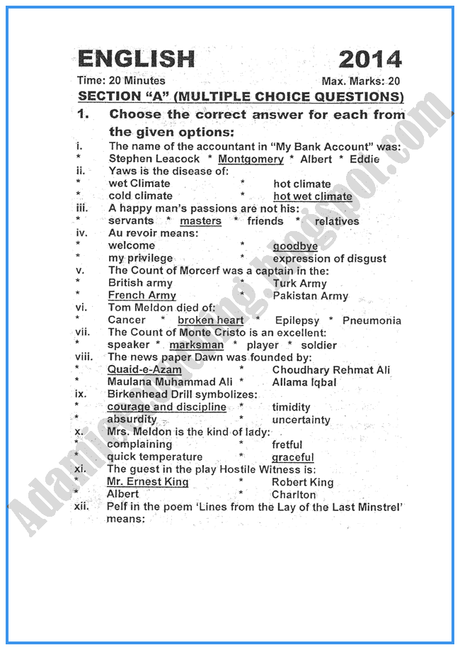 Solved Previous Years CBSE English Sample Papers for