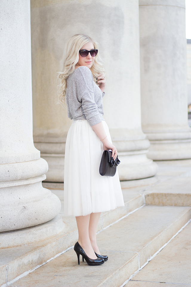 White tulle skirt with soft grey sweater // Fall outfit inspiration via Pretty Little Details