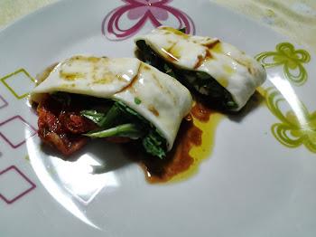 Manta de Mussarela de Búfala com Rúcula e Tomate Seco