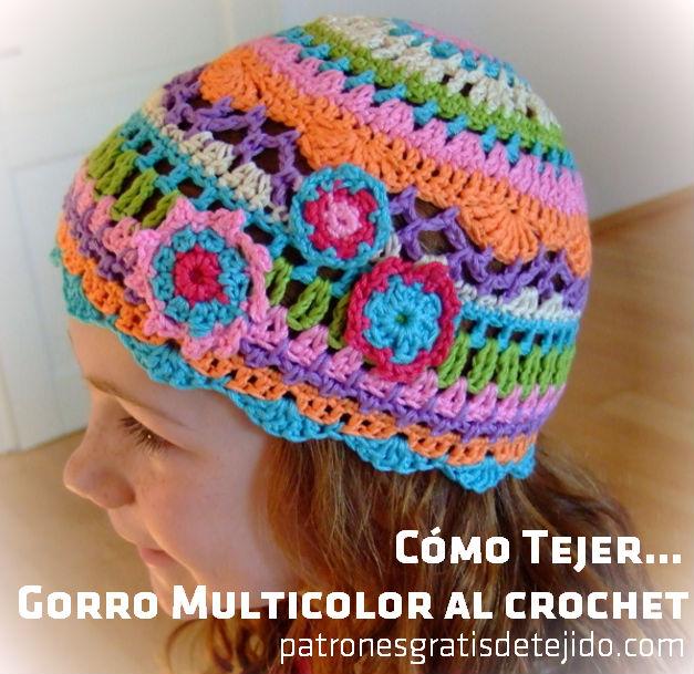 Gorro crochet con distintos puntos y colores