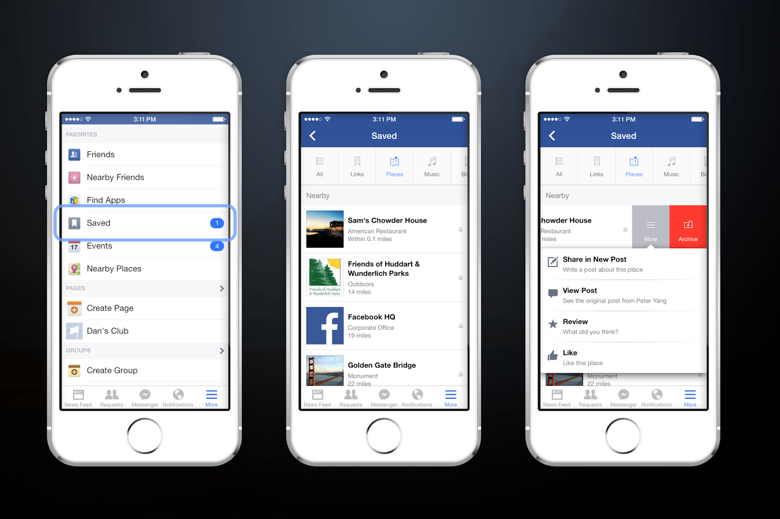 Facebook save places,links,pictures,videos and posts