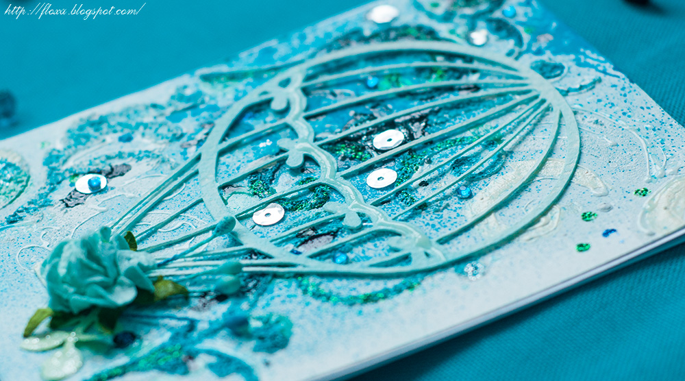 mixed media скрапбукинг, микс-медиа бирюза открытка, краски по стеклу структурная паста глиттер кракелюр спрей открытка
