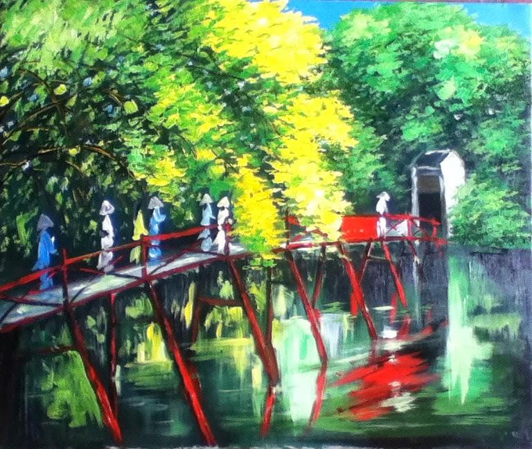 Kết quả hình ảnh cho kinh nghiệm mua tranh sơn dầu hợp kiến trúc truyền thống