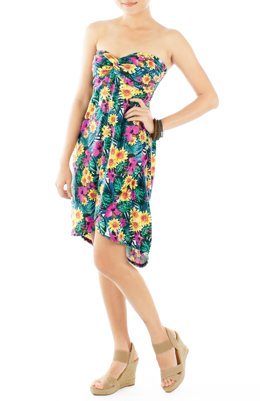 Yellow florals Paradise Knot Dress with Dip Back Skirt