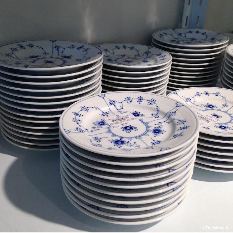 Georg Jensen fabrique outlet Copenhague porcelaine royale blanche fleurs bleues