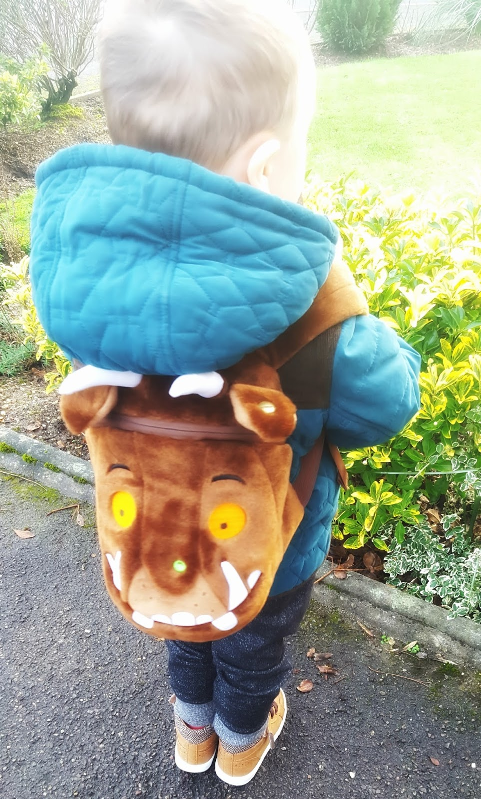 946babbbbb The Gruffalo Kids Backpack is very fluffy. On the exterior you are greeted  with great big