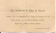 La Capilla de la Aldea La Aguada era en honor a la Virgen del Rosario.