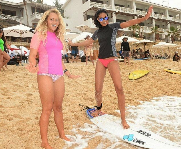 The event which sponsored by Oakley also invited the Victoria's Secret model, Chanel Iman and surfer Malia Ward as they mixed up the moment with a surf lesson.