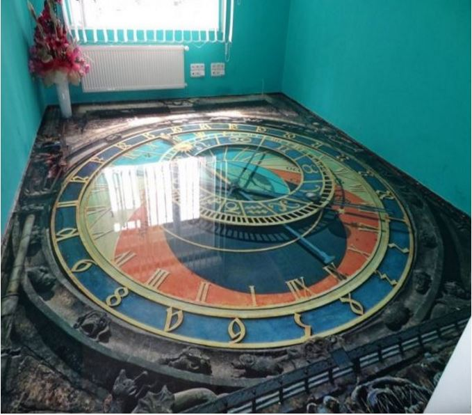 Epoxy painted 3d flooring art and 30 3d bathroom floor for Floor 3d wallpaper