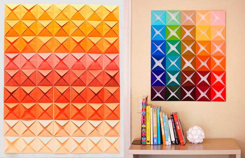 Dobradura de papel: uma ideia linda e barata para a sua parede - 2