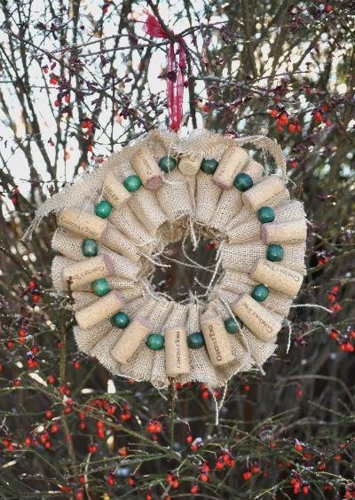 Marvelously Messy Burlap Wine Cork Wreath
