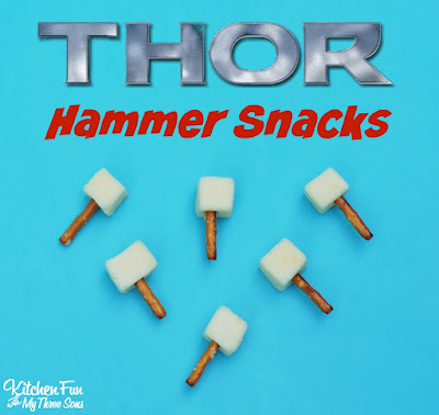 THOR Cheese & Pretzel Hammer Snacks & The Avengers Party from KitchenFunWithMy3Sons.com