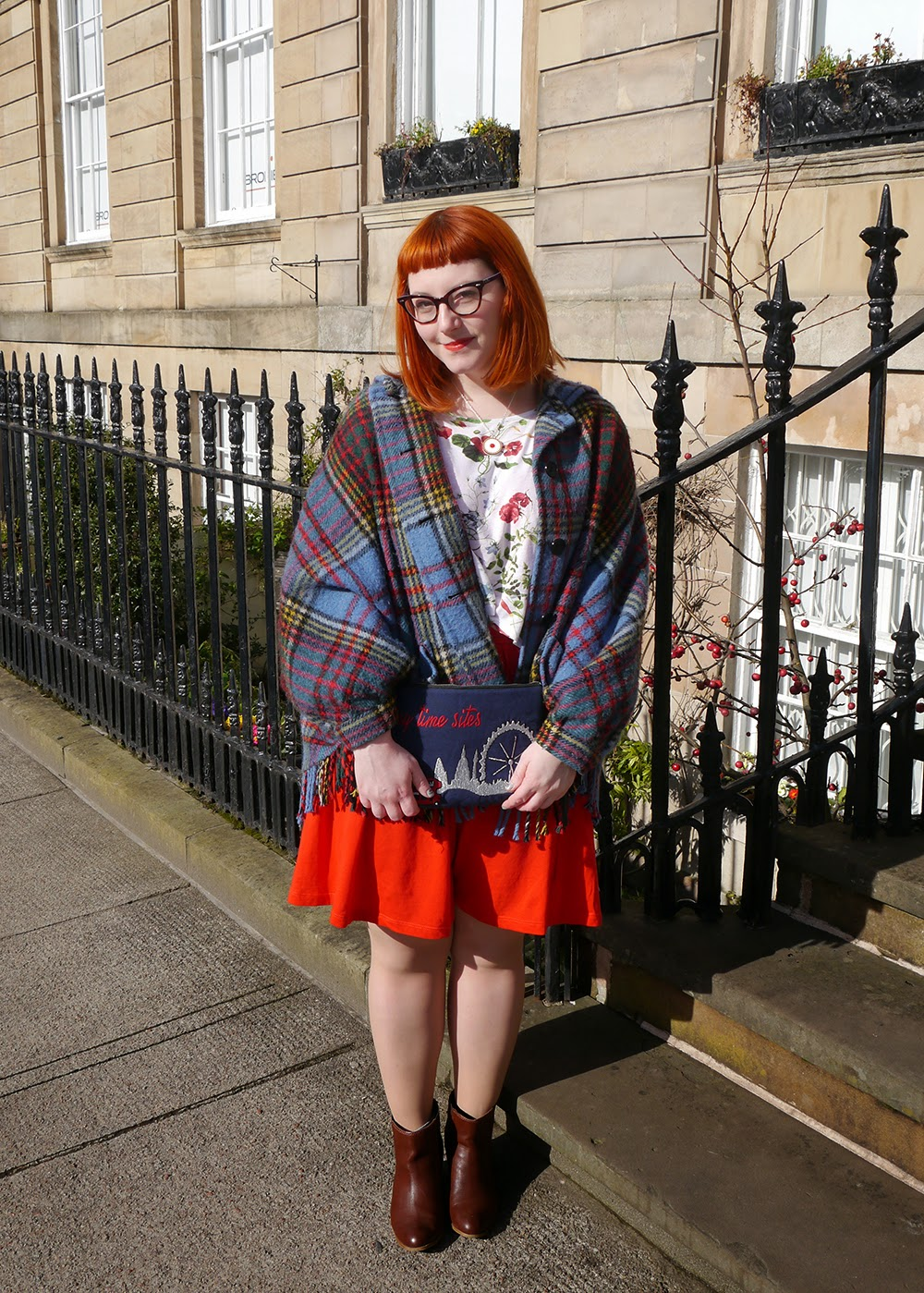 What Helen Wore, Scottish Blogger, Red Head, Glasgow, Hillary's Crafternoon, Sugar & Vice, cherry bakewell necklace, comfy style, bright colours, floral tee, Zara flower print tshirt, H&M red jersey dress, Zara brown boots, SewLomax day time sites bag, vintage tartan cape, vintage cape