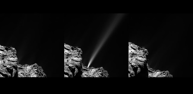 A short-lived outburst from Comet 67P/Churyumov–Gerasimenko was captured by Rosetta's OSIRIS narrow-angle camera on 29 July 2015. The image at left was taken at 13:06 GMT and does not show any visible signs of the jet. It is very strong in the middle image captured at 13:24 GMT. Residual traces of activity are only very faintly visible in the final image taken at 13:42 GMT.  The images were taken from a distance of 186 km from the centre of the comet. The jet is estimated to have a minimum speed of 10 m/s and originates from a location on the comet's neck, in the rugged Anuket region. Credit: ESA/Rosetta/MPS for OSIRIS Team MPS/UPD/LAM/IAA/SSO/INTA/UPM/DASP/IDA
