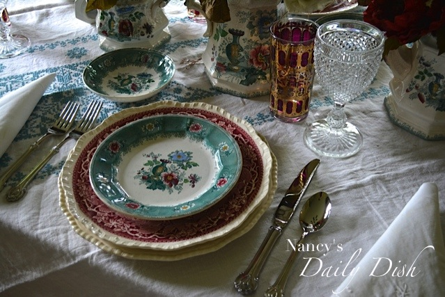 The smaller salad plates were layered over the red dinner plates and cream colored chargers. & Nancy\u0027s Daily Dish: Edward Challinor Turquoise and Red Transferware ...