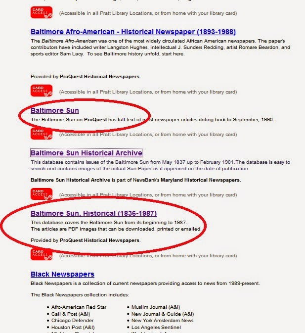 Miscellaneous Posts: How to use the Baltimore Sun Archives and the ...