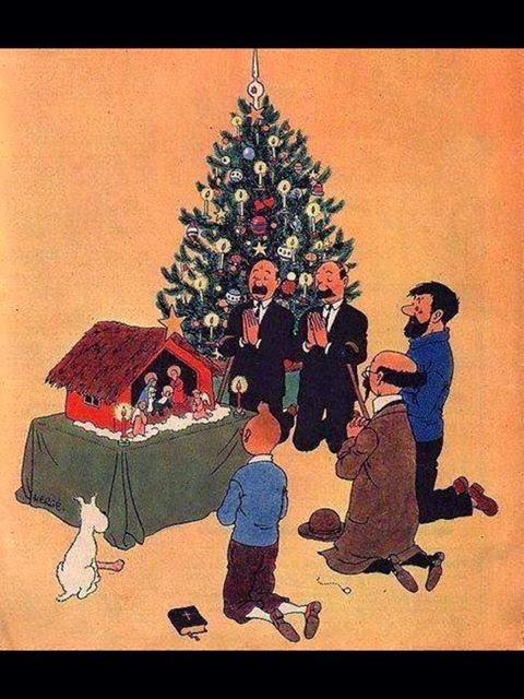"""Le Noël de Tintin, en un temps où la ferveur religieuse était plus importante que la ferveur """"acheteuse"""". Blog+-Noel-creche_Tintin"""