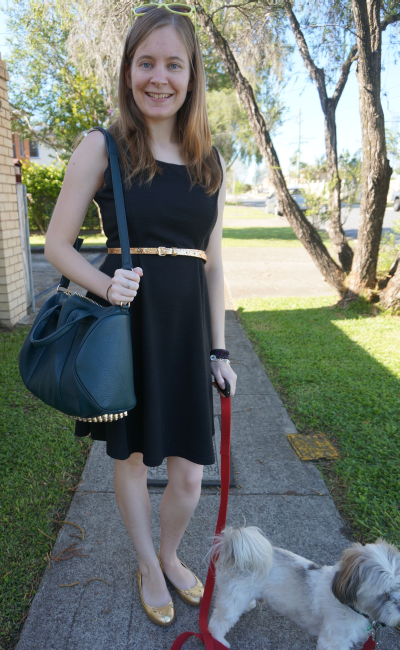 away from blue australian daily outfit blog belted LBD rocco bag