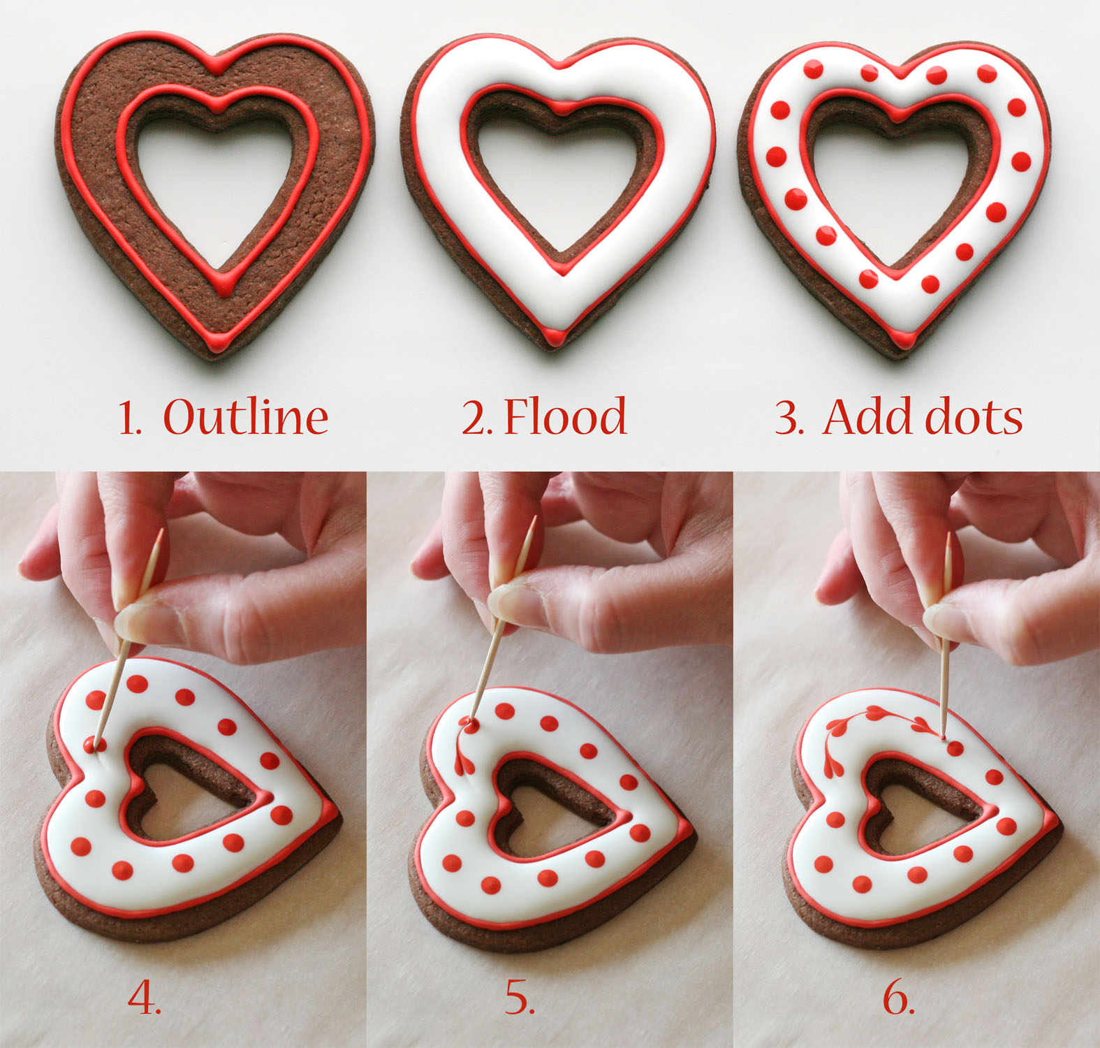 Simple Heart Valentineu0027s Cookies {Decorating How To}