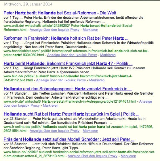 Suchergebnisse vom 28.01.2014, nachmittags: Keine Spur vom Dementi