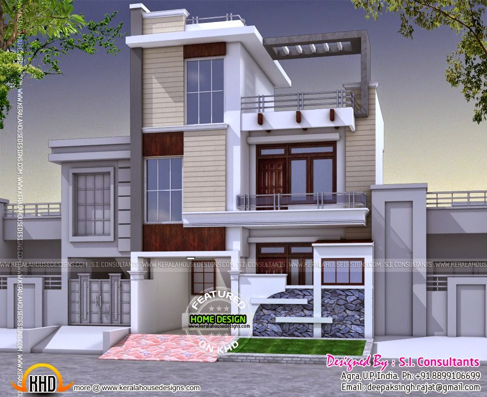 Modern 3 bedroom house in india kerala home design and for Villa design plan india