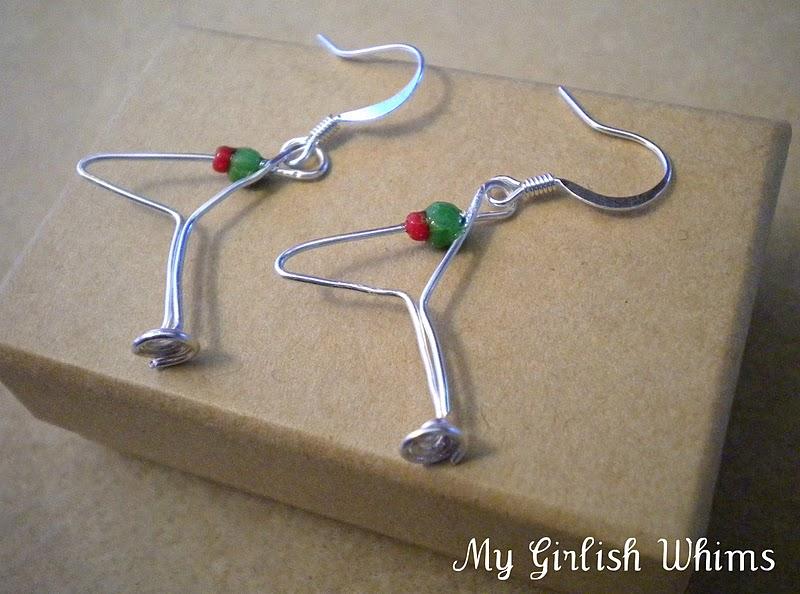 Martini Gl Wire Earrings